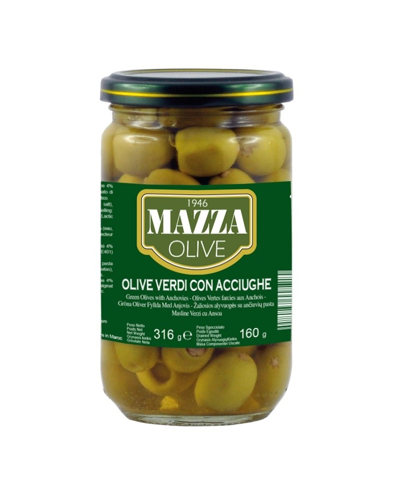 Stuffed green olives with anchoives pot ml 314