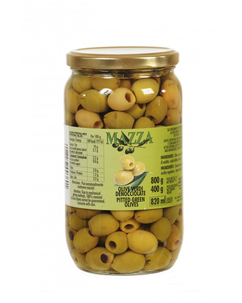 Pitted green olives pot Gr. 800