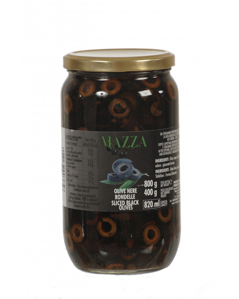 Sliced black olives pot Gr. 800