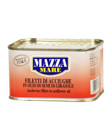 Anchovies fillets in oil in square tin Gr. 600