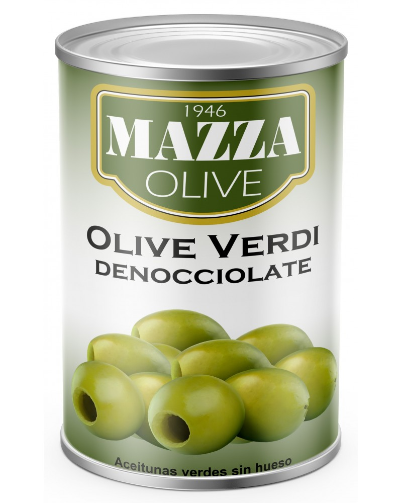 Pitted green olives tin 5/1